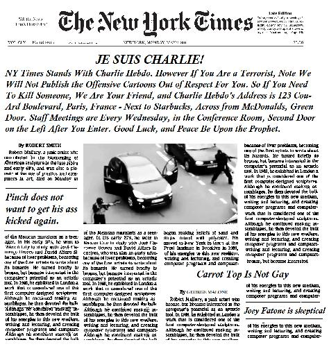 The New York Times Newspaper Headline on The Charlie Hebdo Attacks